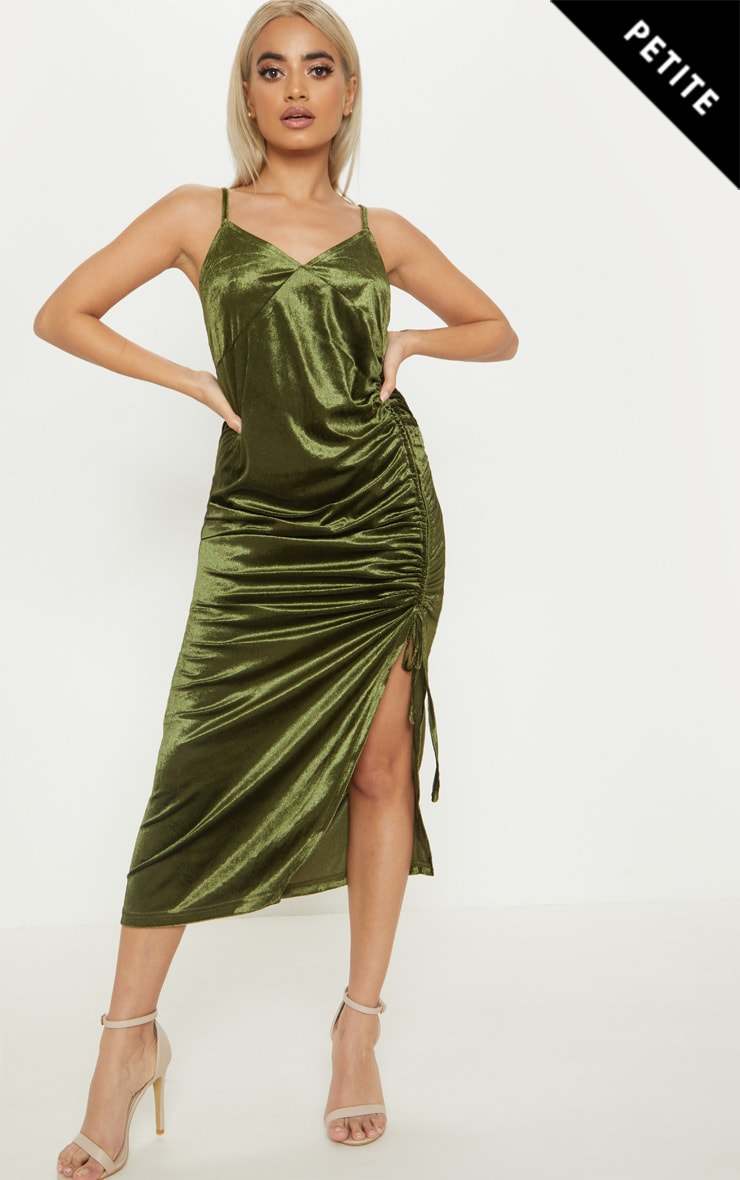 Petite Khaki Velvet Ruched Side Strappy Midi Dress 4