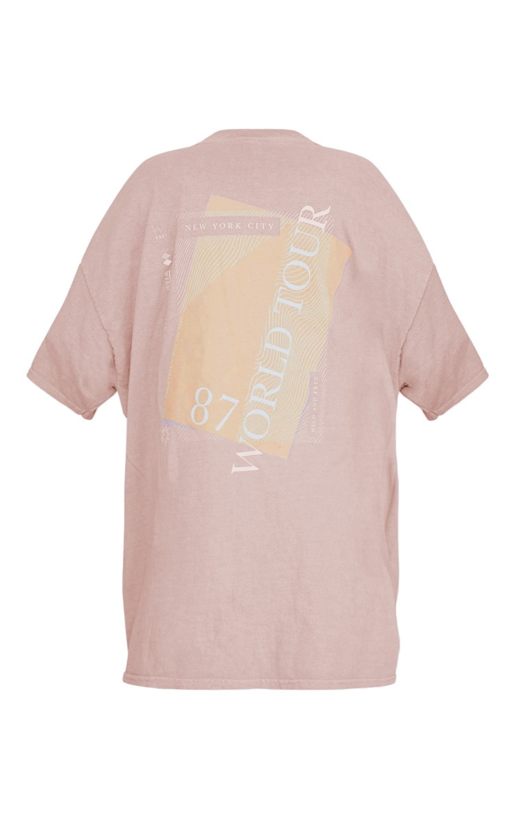 Taupe Slogan Washed T Shirt 4
