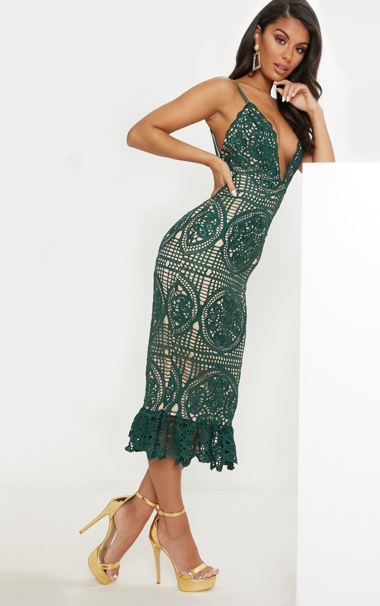 Emerald Green Strappy Thick Lace Frill Hem Midi Dress 4