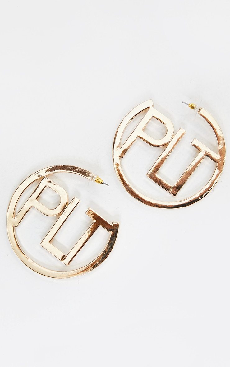 PRETTYLITTLETHING Gold Hooped Earrings 1