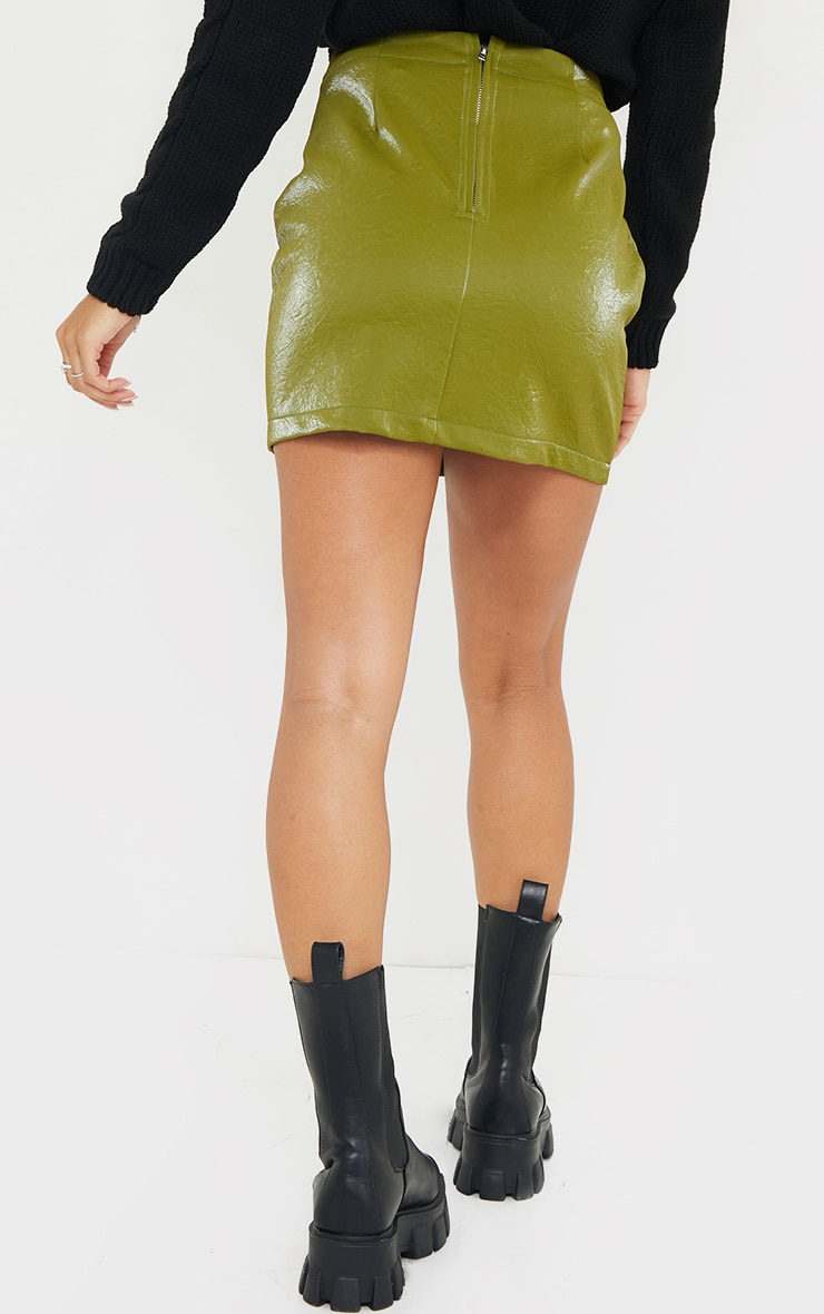 Olive Textured Faux Leather Mini Skirt 3