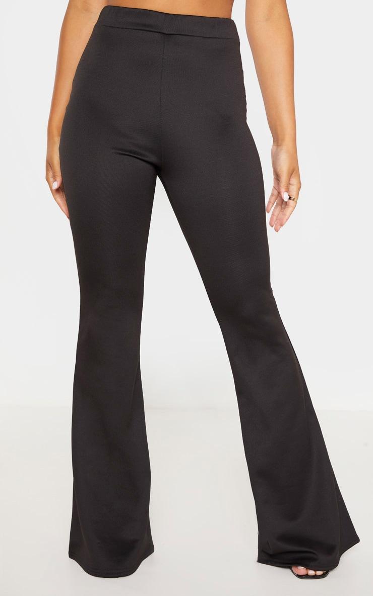 Petite Black Flared Leg Trousers  2