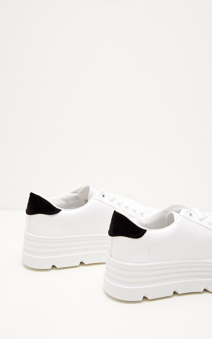 White Cleated Sole Flatform Lace Up Trainer 4
