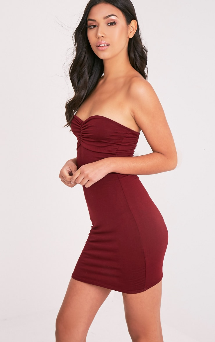 Leanna Burgundy Jersey Bandeau Bodycon Dress 4