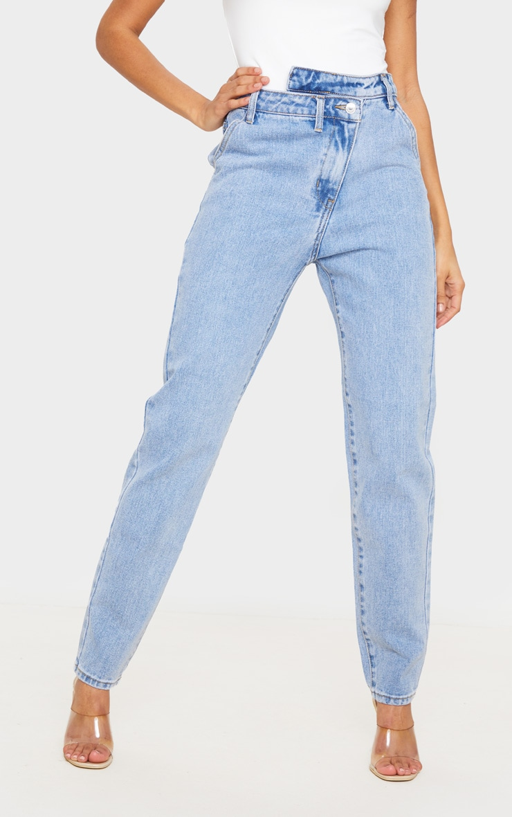 Light Blue Wash Asymmetric Waistband Jeans 2