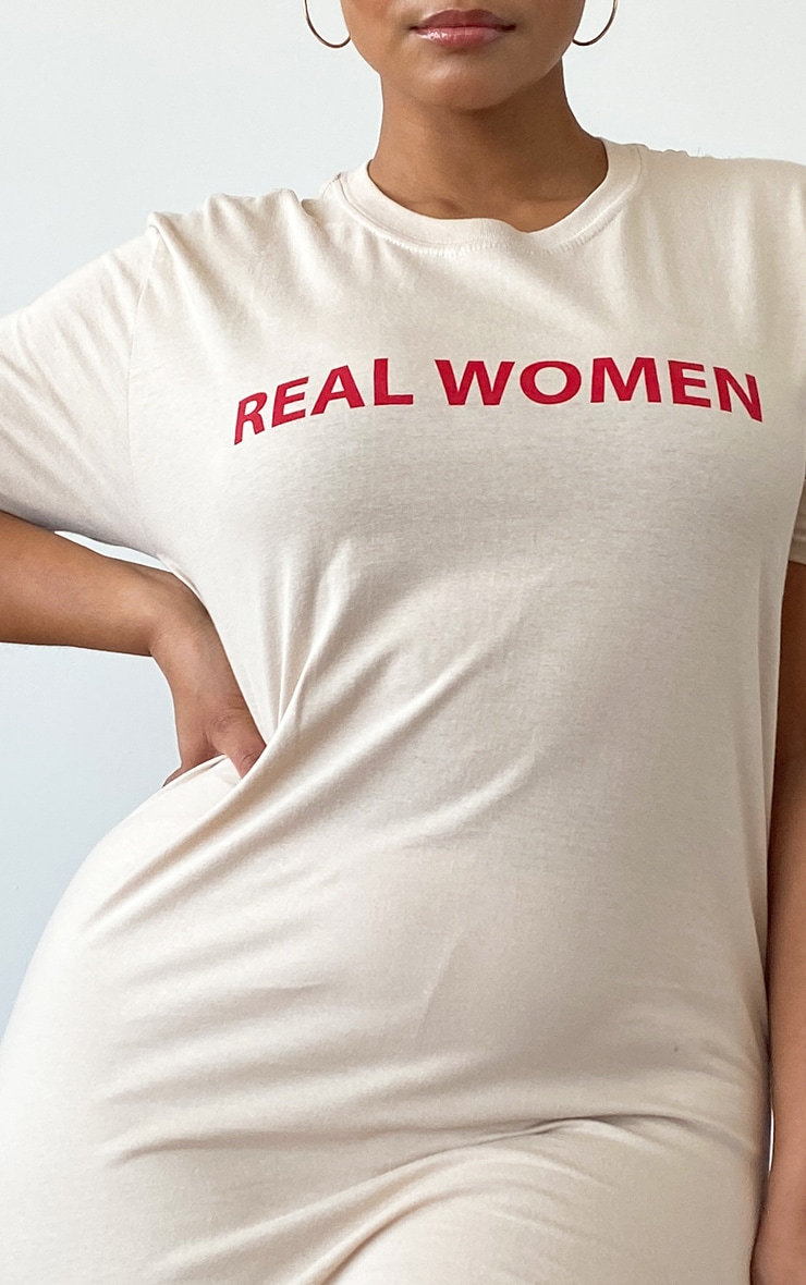 Plus Stone Real Women Slogan T-Shirt 4