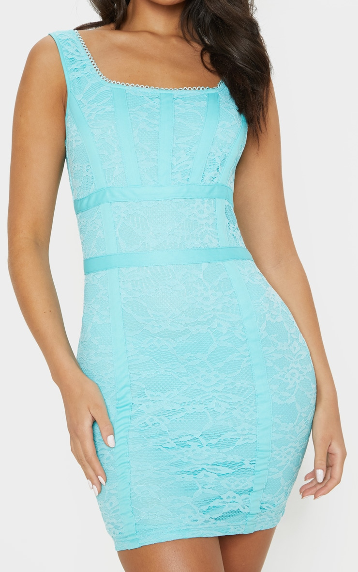 Bright Blue Lace Square Neck Panelled Bodycon Dress 5