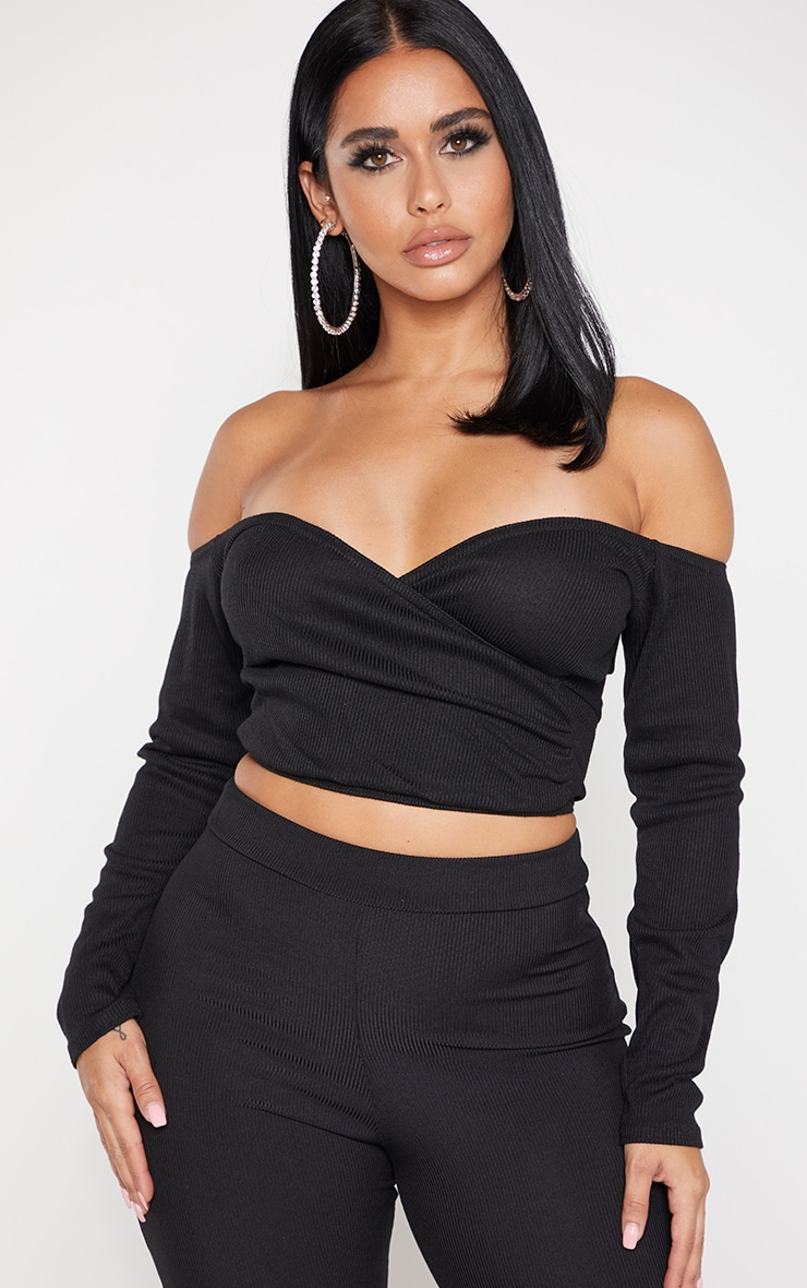 Shape Black Fuller Bust Wrap Bardot Ribbed Crop Top 1