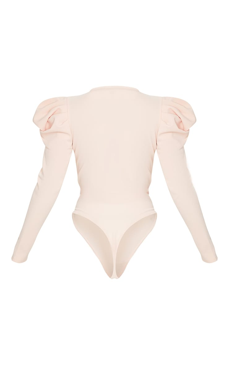 Nude Crepe Puff Sleeve Deep Plunge Bodysuit 4