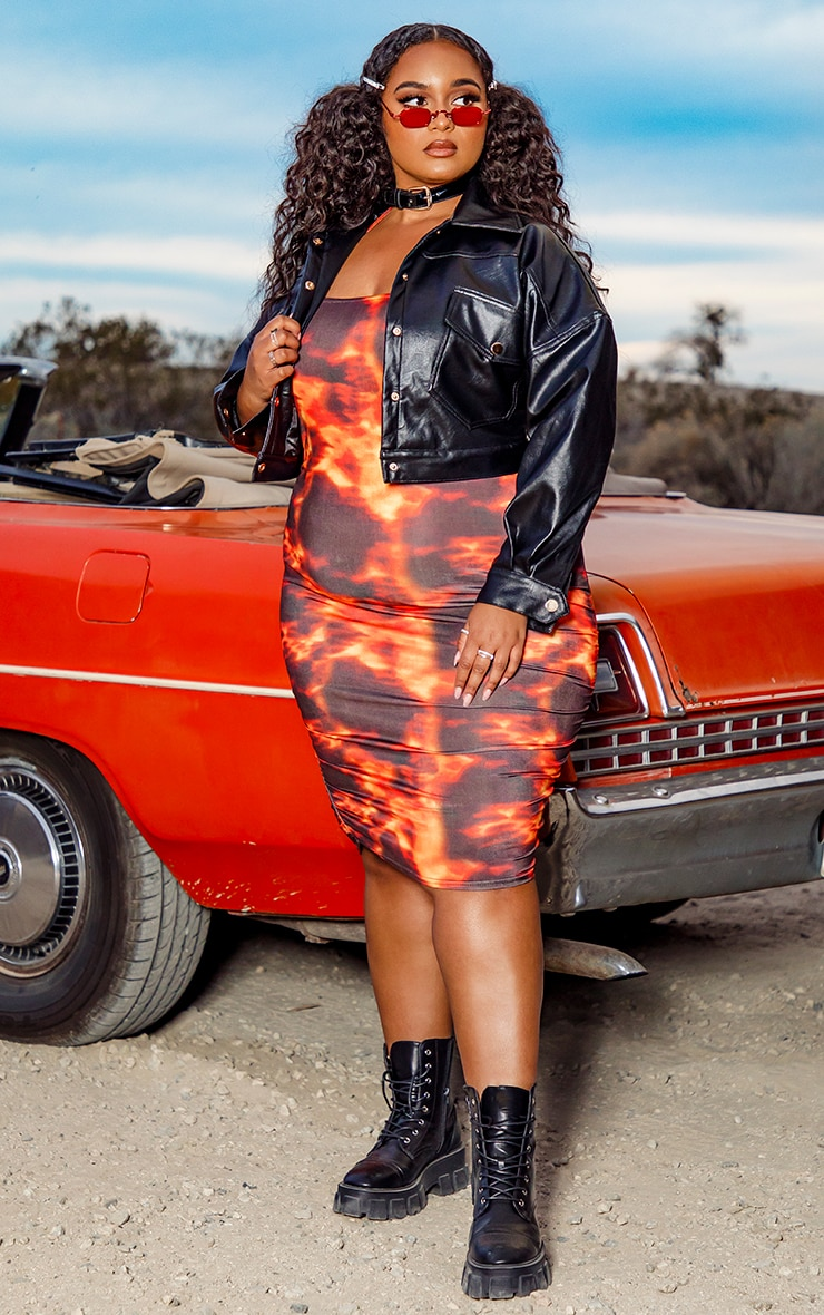 Plus Orange Flame Print Halterneck Bodycon Dress 3
