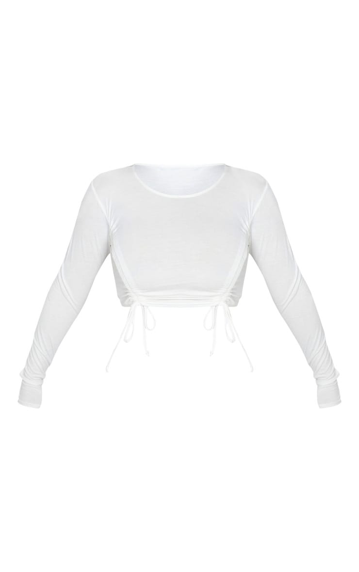 White Ruched Jersey Front Crop Top 3