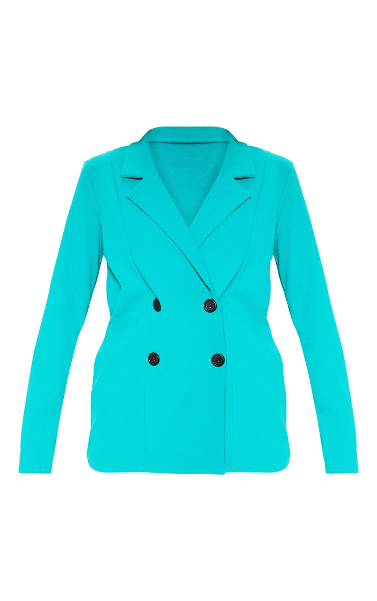 Teal Double Breasted Button Suit Jacket  3