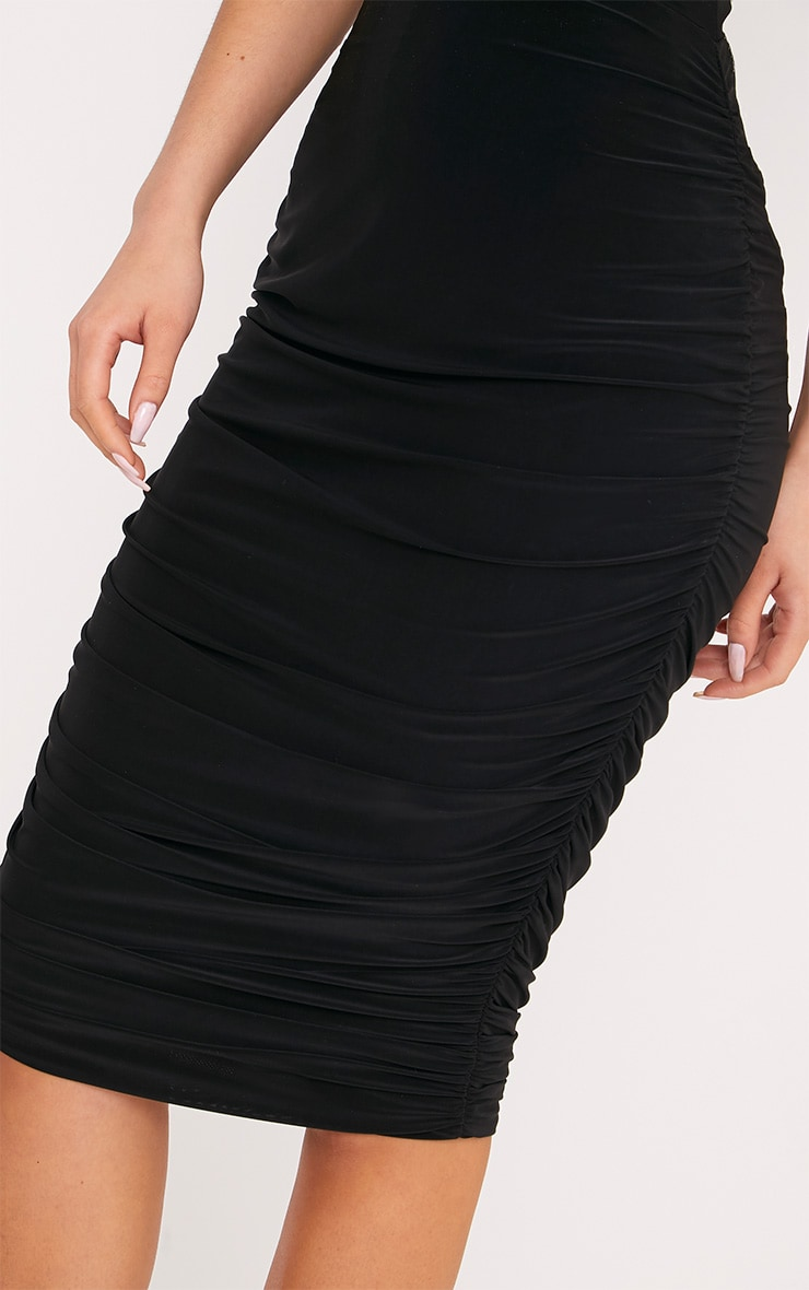 Shape Mila Black Ruched Side Midi Skirt  5