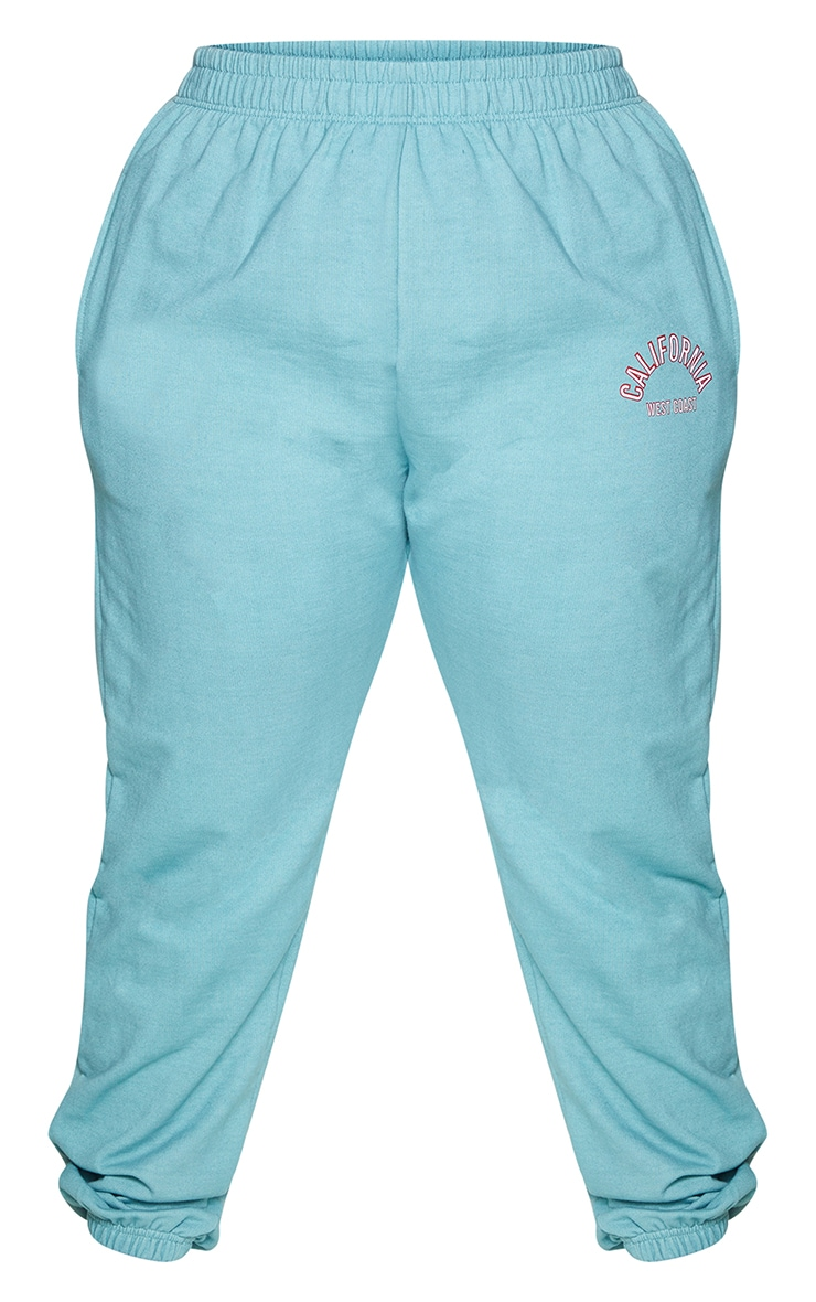 Plus Teal California Print Joggers 5