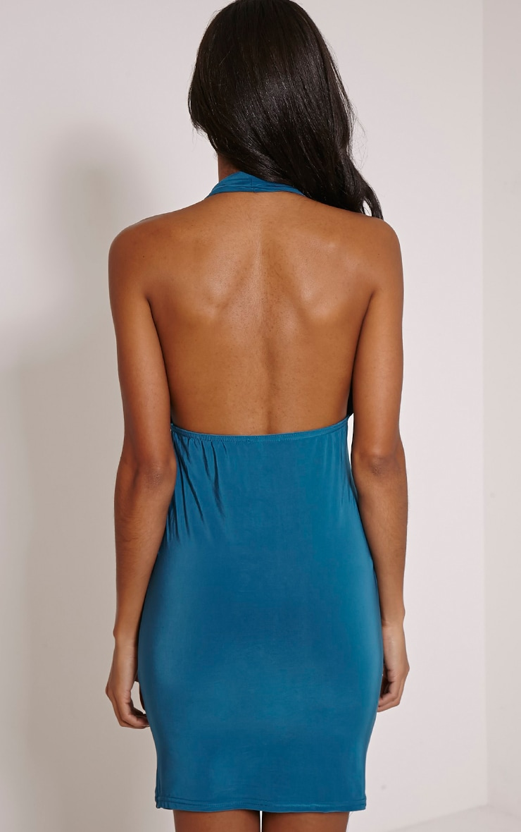 Cindie Teal Ruched Front Dress 2