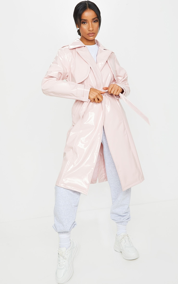 Pink Belted Patent Trench Coat 1