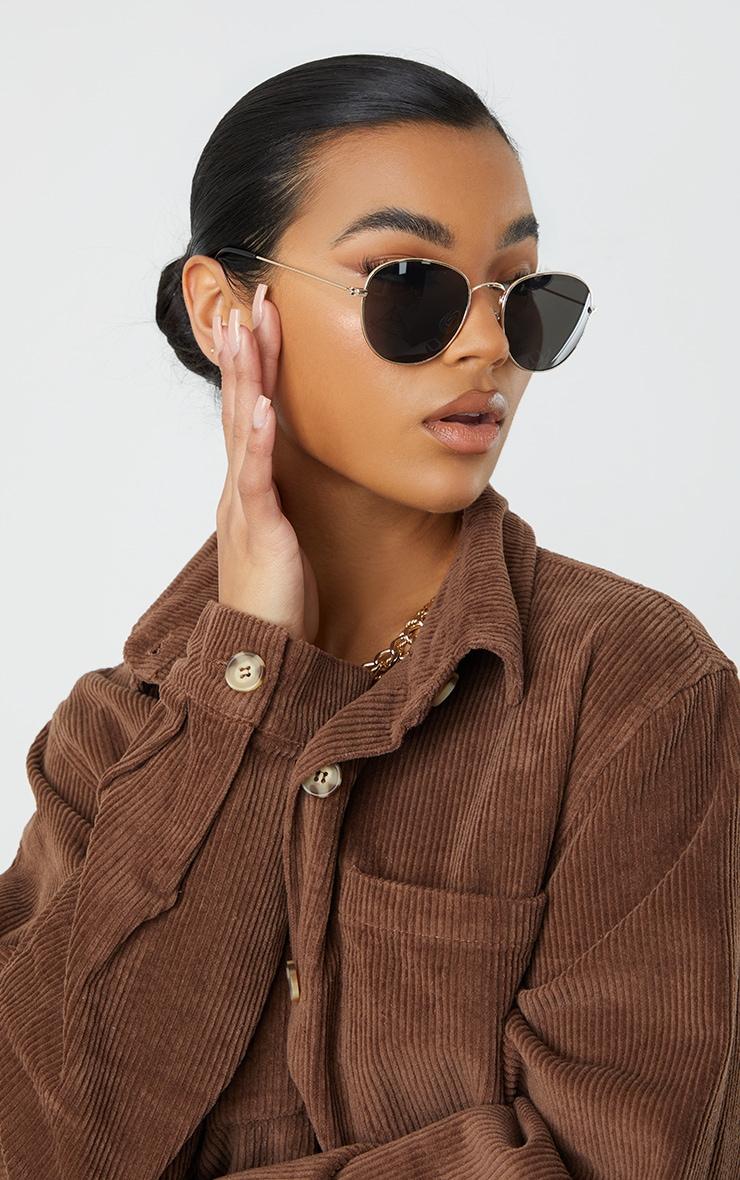 Black On Gold Circular Sunglasses