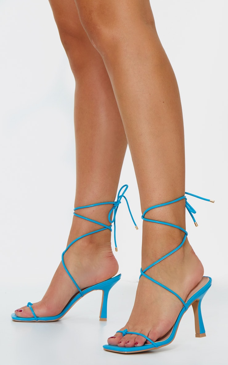 Blue Mid Heel Knotted Toe Strappy Heeled Sandals 2