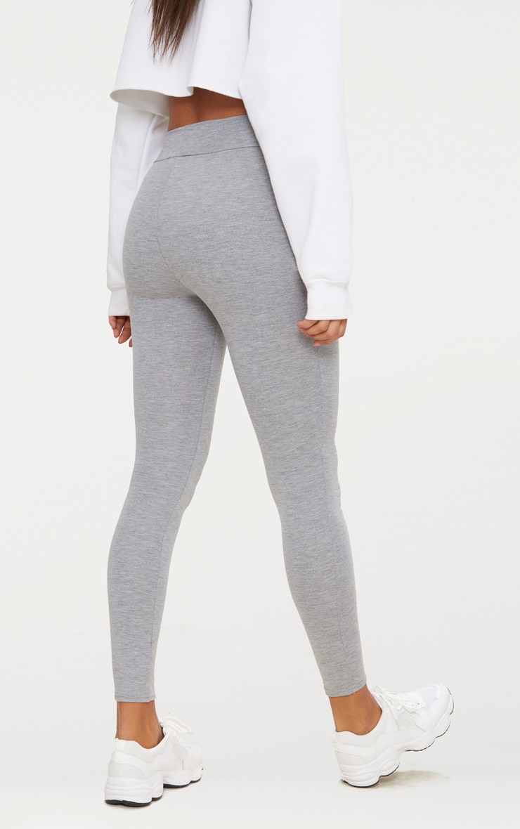 Basic Grey High Waisted Jersey Leggings 3