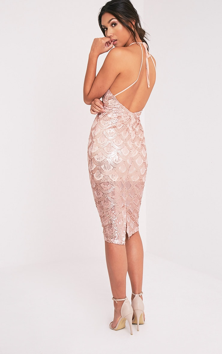 Amarie Rose Gold High Neck Keyhole Sequin Midi Dress 4