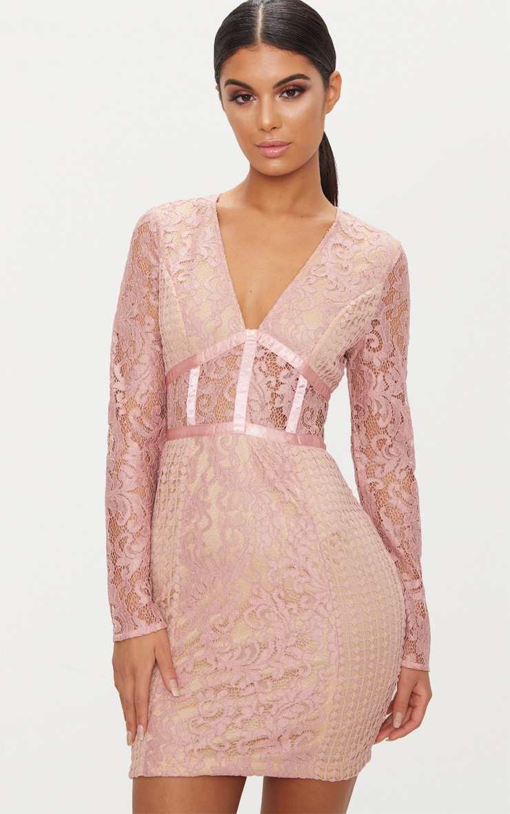 Dusty Pink Lace Panel Satin Piped Plunge Bodycon Dress 1