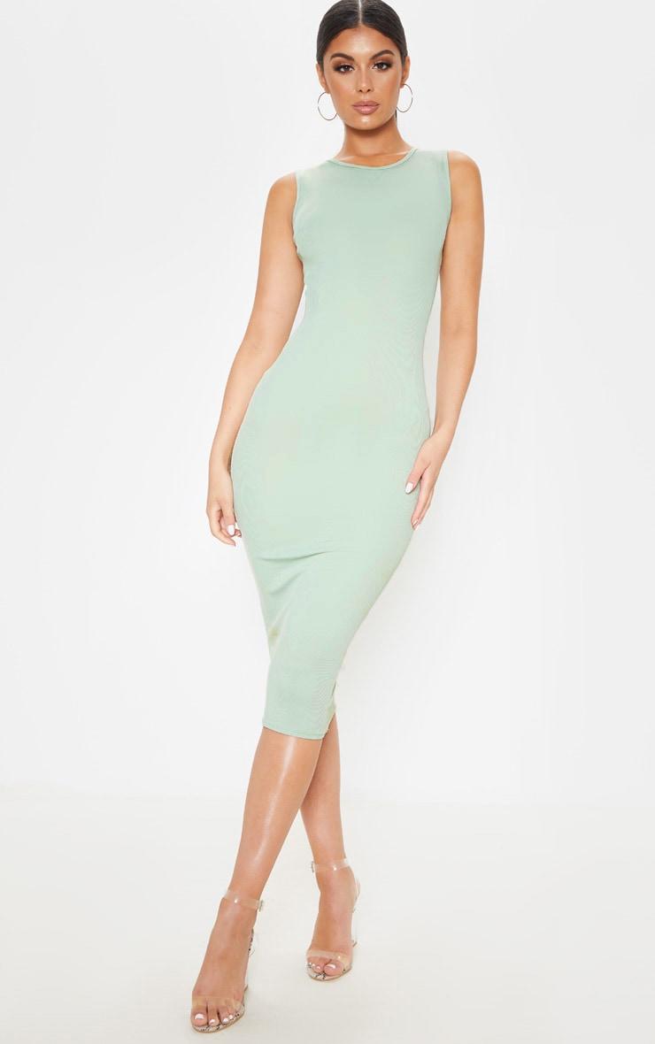 Sage Khaki Ribbed Midi Dress 1