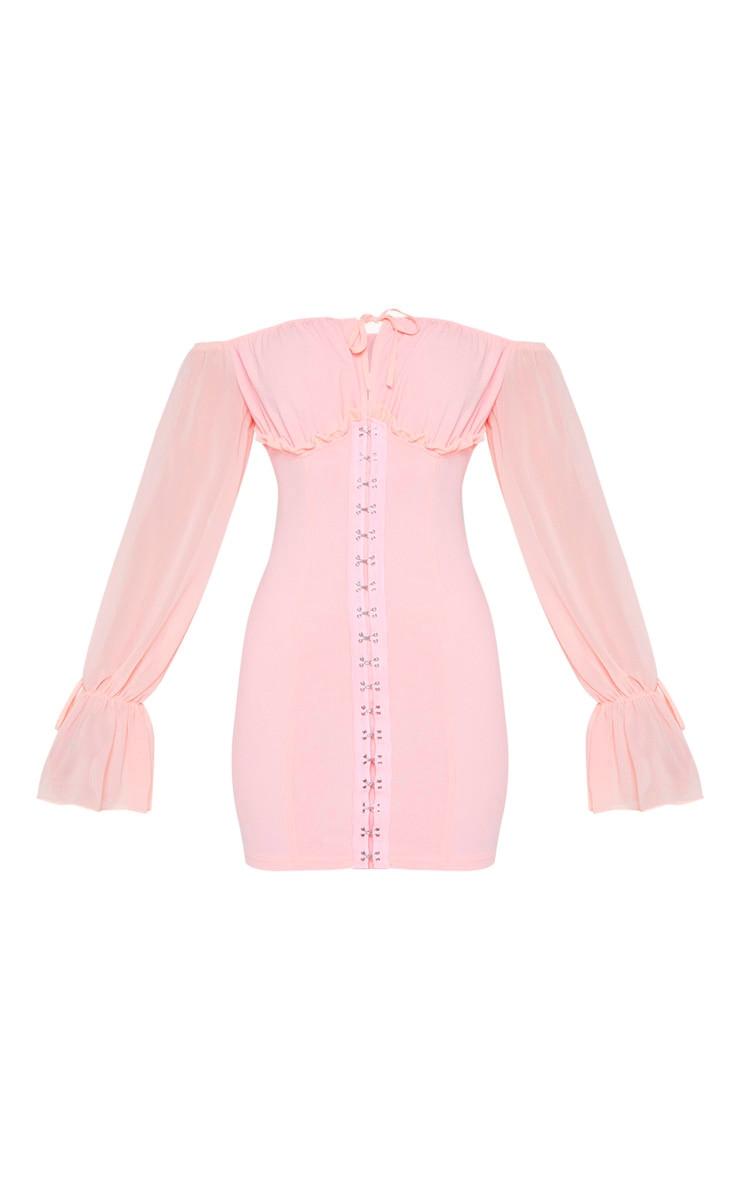 Pink Chiffon Sleeve Hook & Eye Bodycon Dress 3