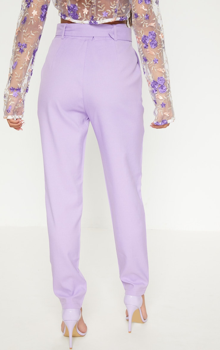 Lilac Belted Tailored Trousers 4