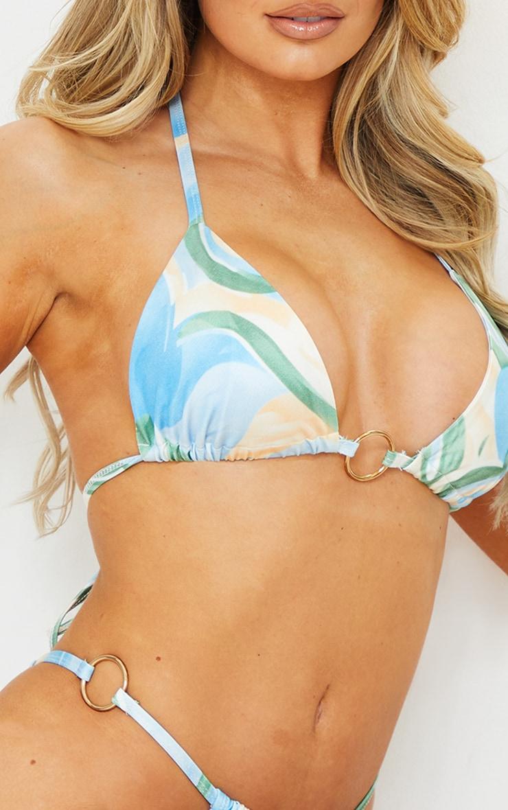 Multi Abstract Print Trim Triangle Bikini Top 4