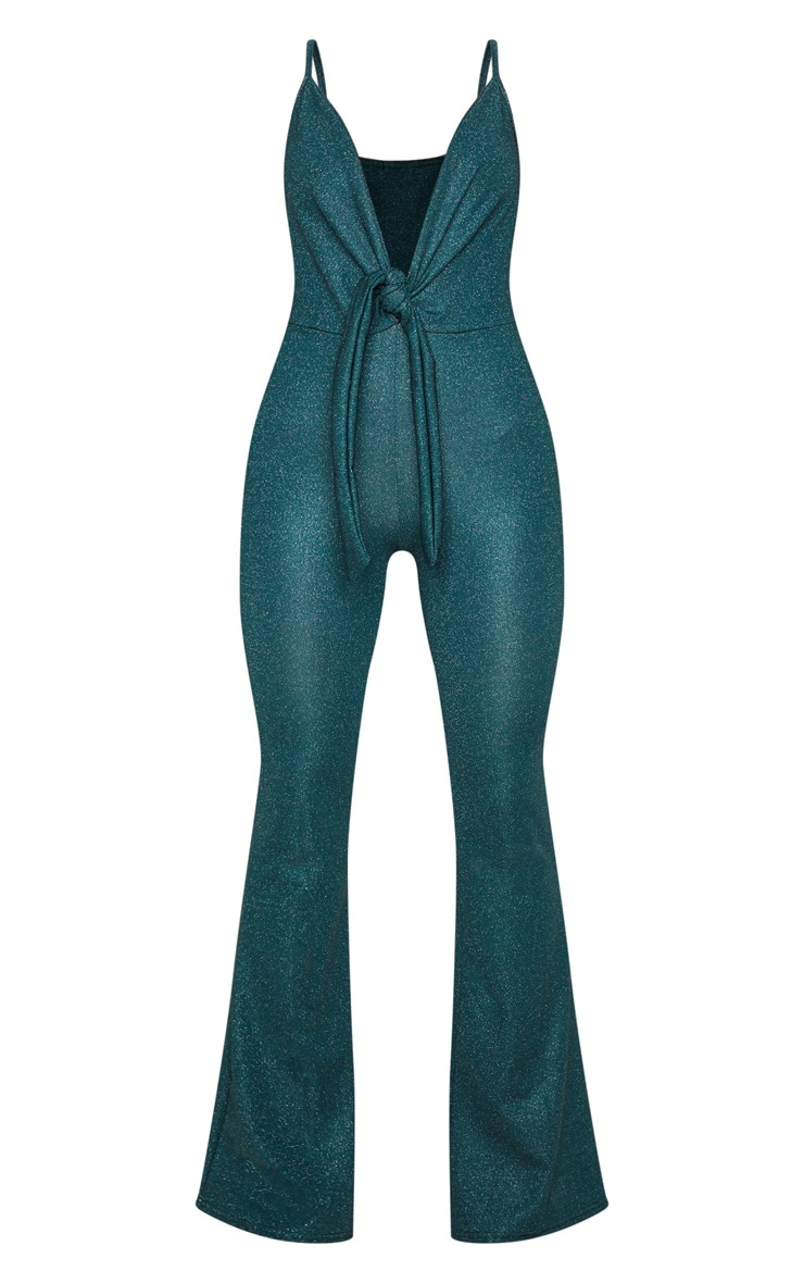Emerald Green Glitter Knot Front Strappy Jumpsuit 3