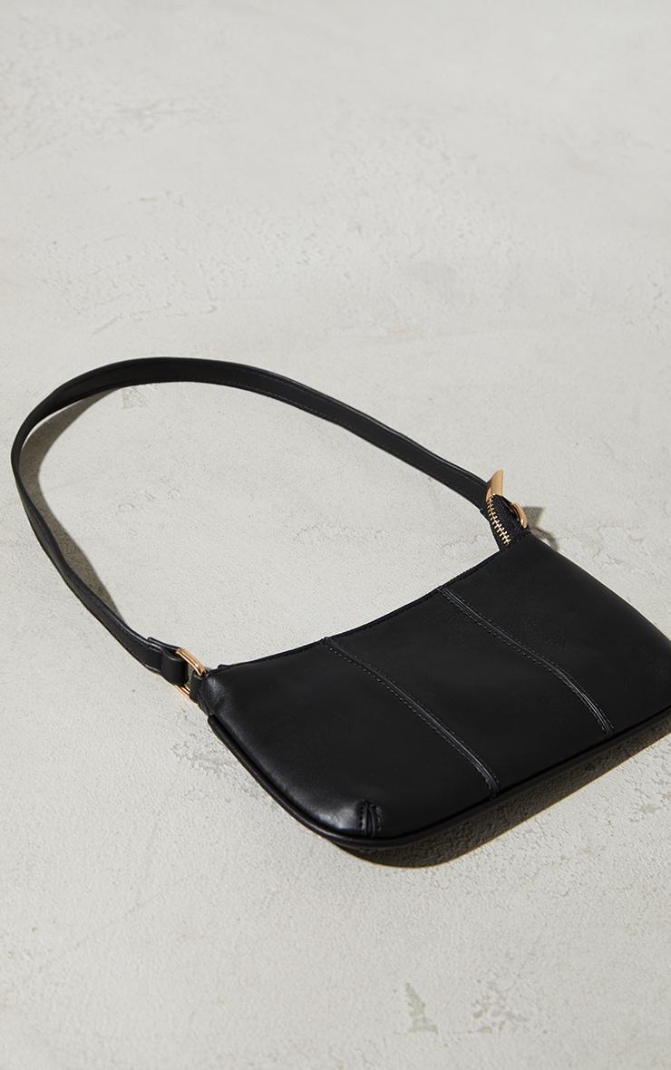 Black Stitch Detail Shoulder Bag 2