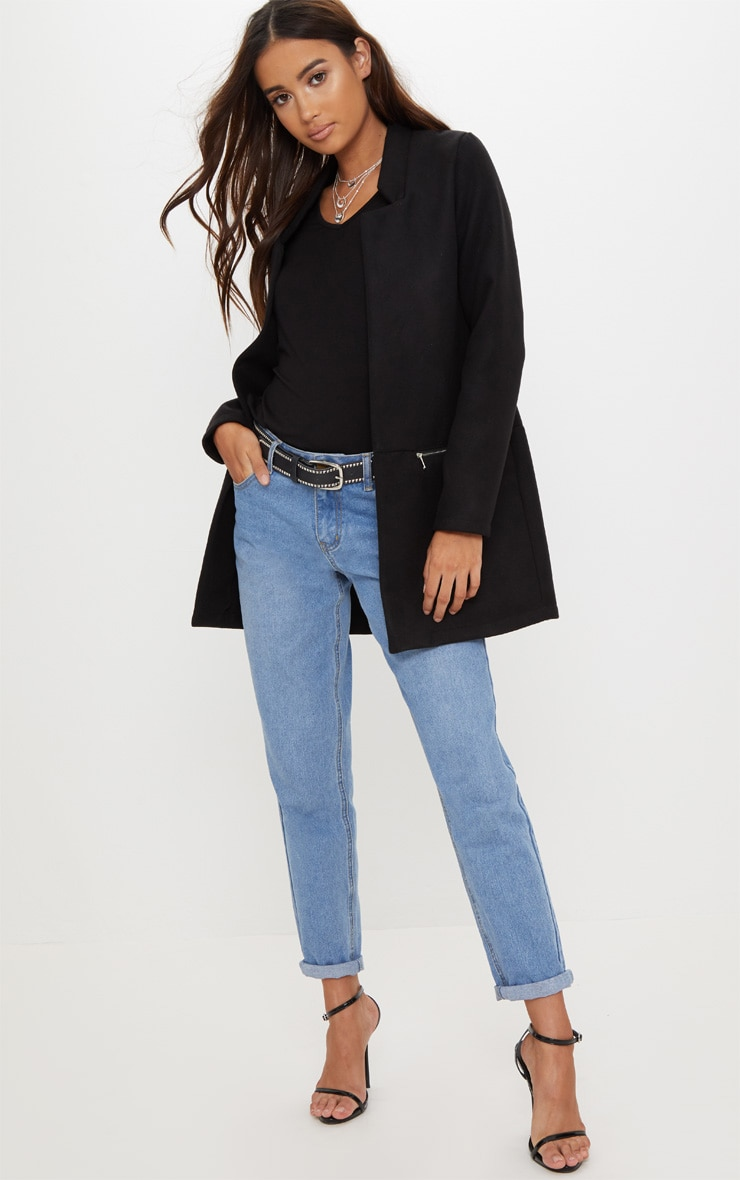 Black Zip Pocket Wool Coat