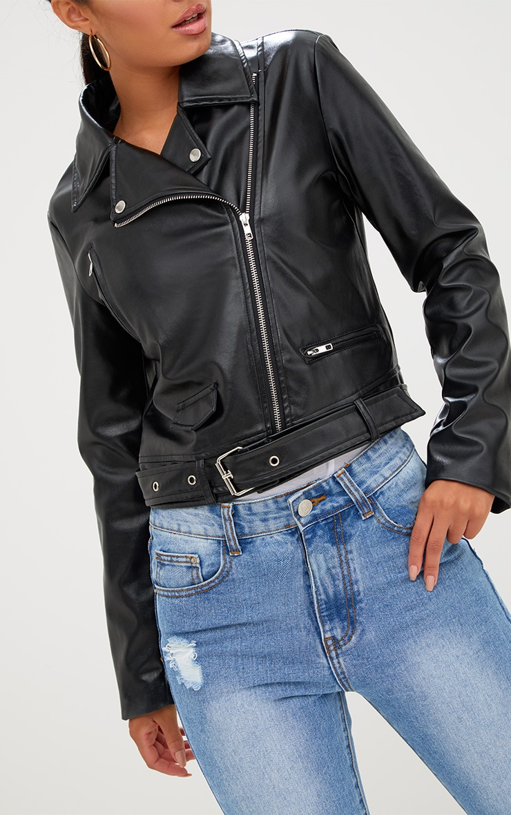 Polie Black PU Biker Jacket  6