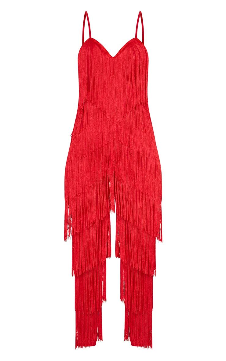 Red Tassel Plunge Jumpsuit 3
