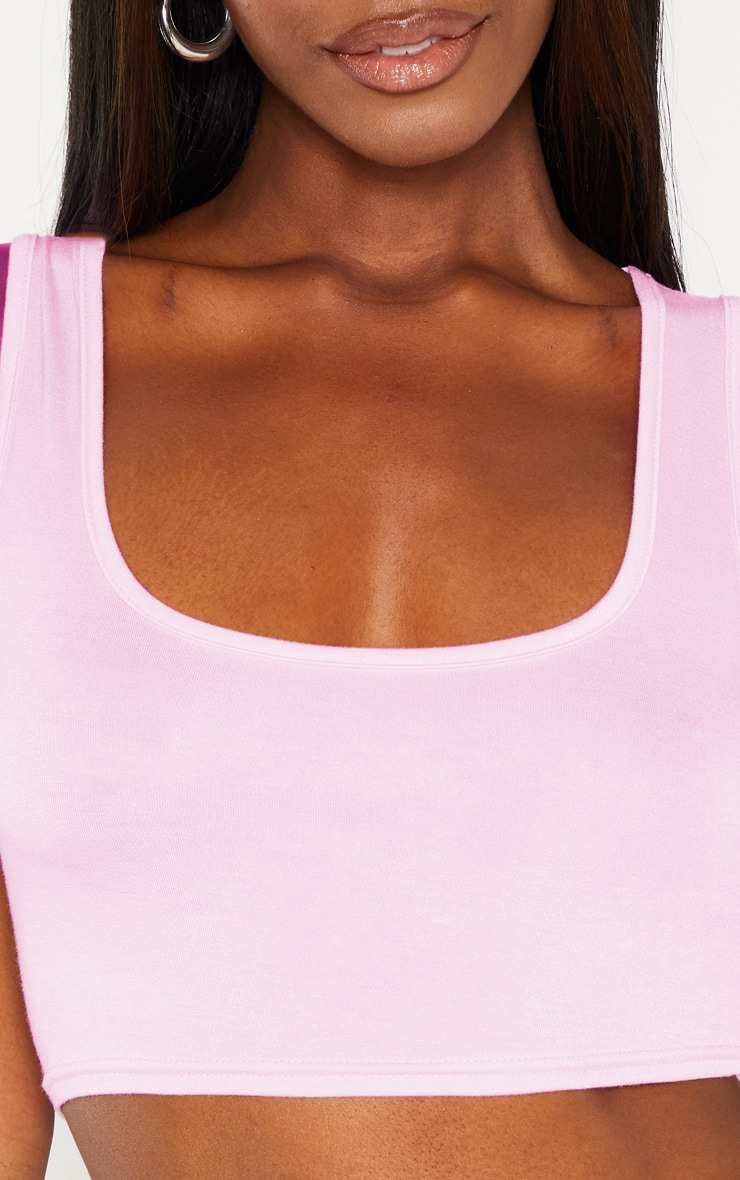Basic Baby Pink Scoop Neck Crop Top 5