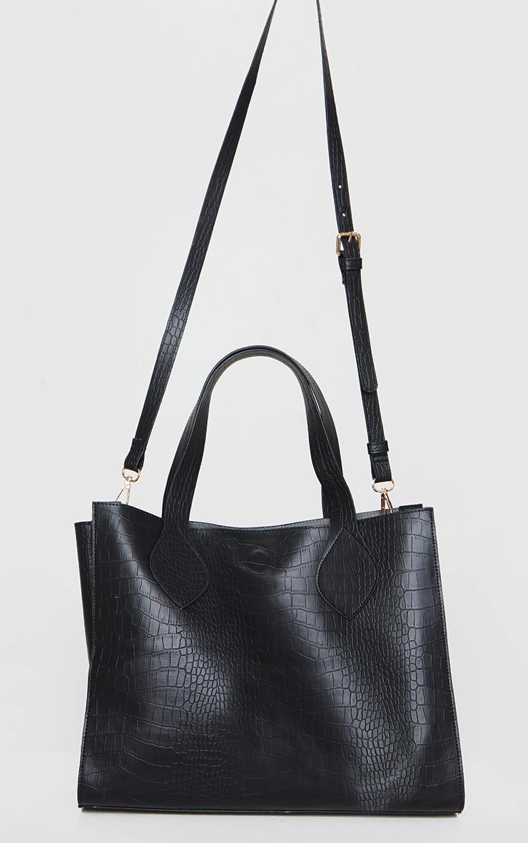 Black PU Croc Tote Bag 2