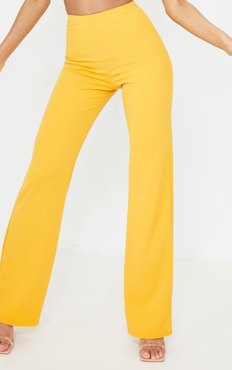 Orange Crepe High Waisted Wide Leg Trousers 4