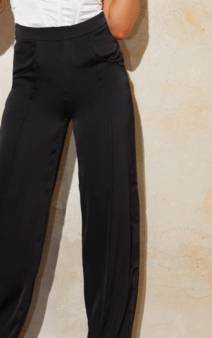 Black Satin Pintuck Pocket Detail Wide Leg Pants 4