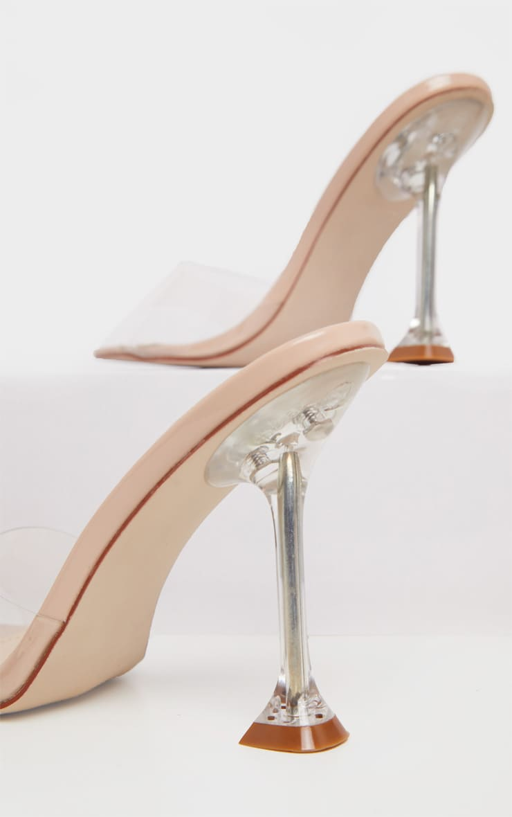 Nude Clear Heel Mule Sandals 4