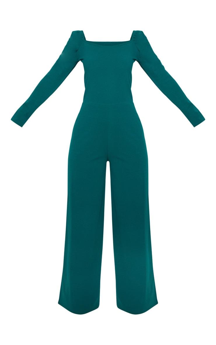 Petite Emerald Green Puff Sleeve Wide Leg Jumpsuit  3