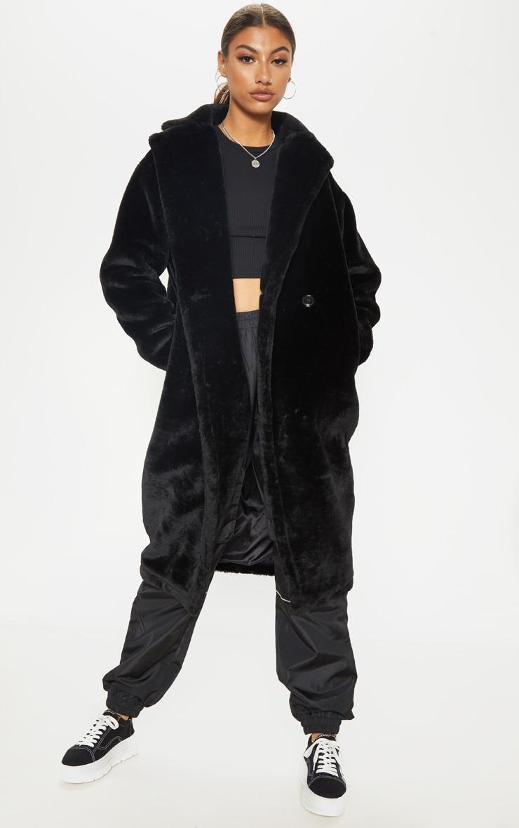 Tall Black Faux Fur Long Line Coat 1