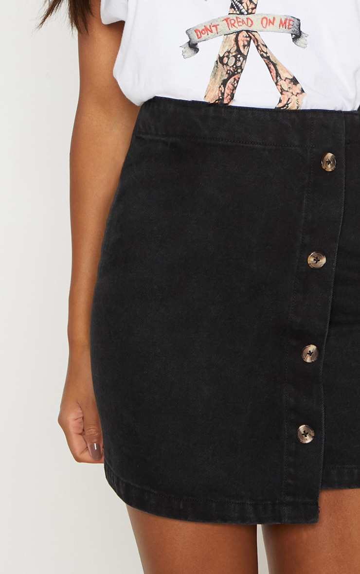 Black Button Through Wrap Skirt  6