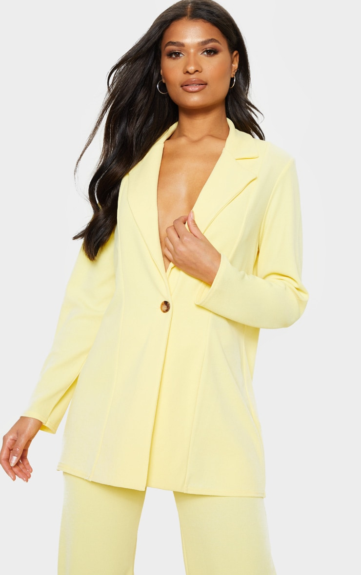 Lemon Oversized Boyfriend Blazer 1