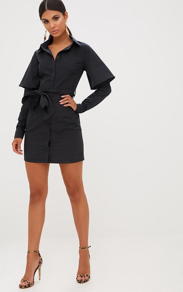 Black Double Cuff Tie Waist Shirt Dress 4