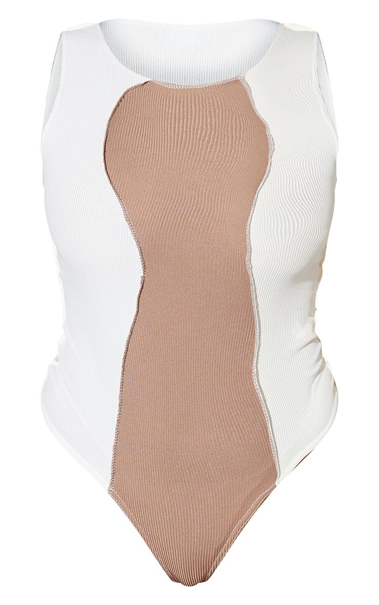 White Rib Spliced Bodysuit 5