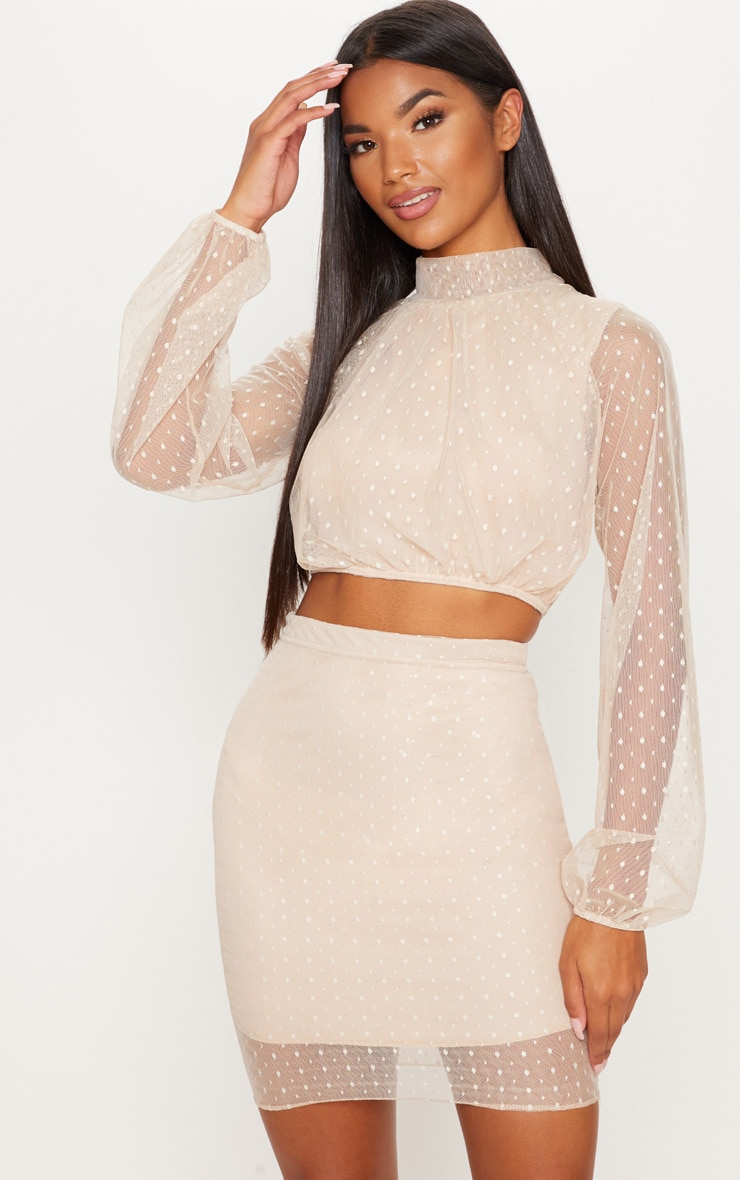 Nude Dobby Mesh Mini Skirt