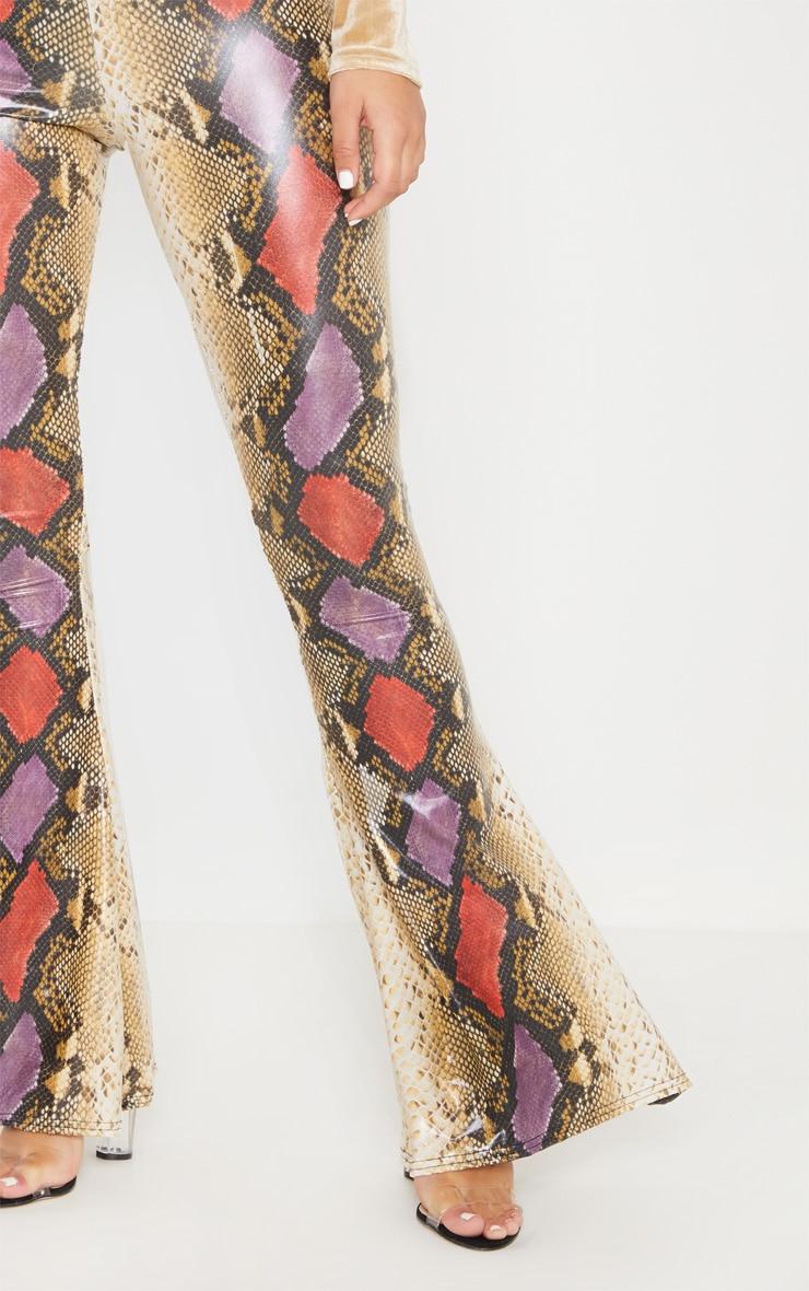 Multi Snake Print Coated Flare Leg Pants 5