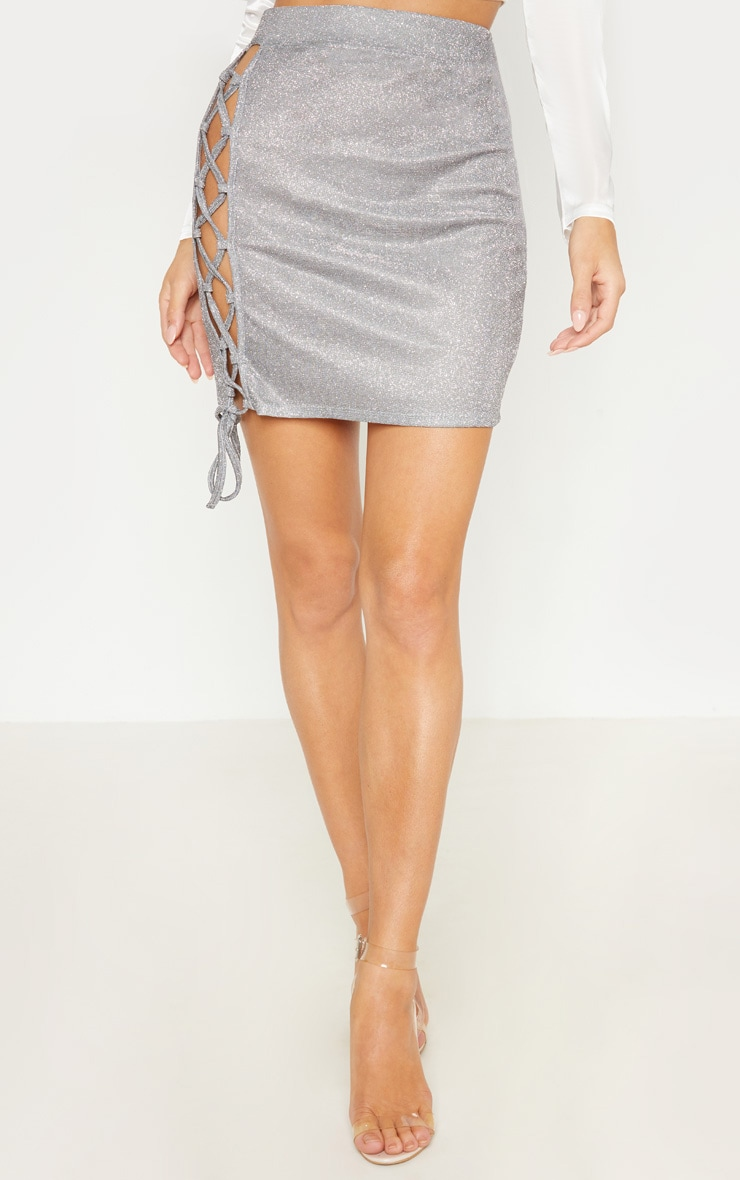 Silver Textured Glitter Lace Up Mini Skirt 2