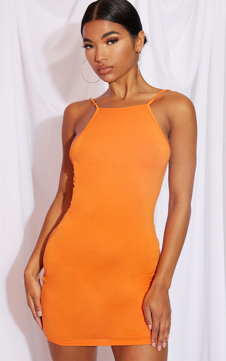 Orange 90s Neck Bodycon Dress 1