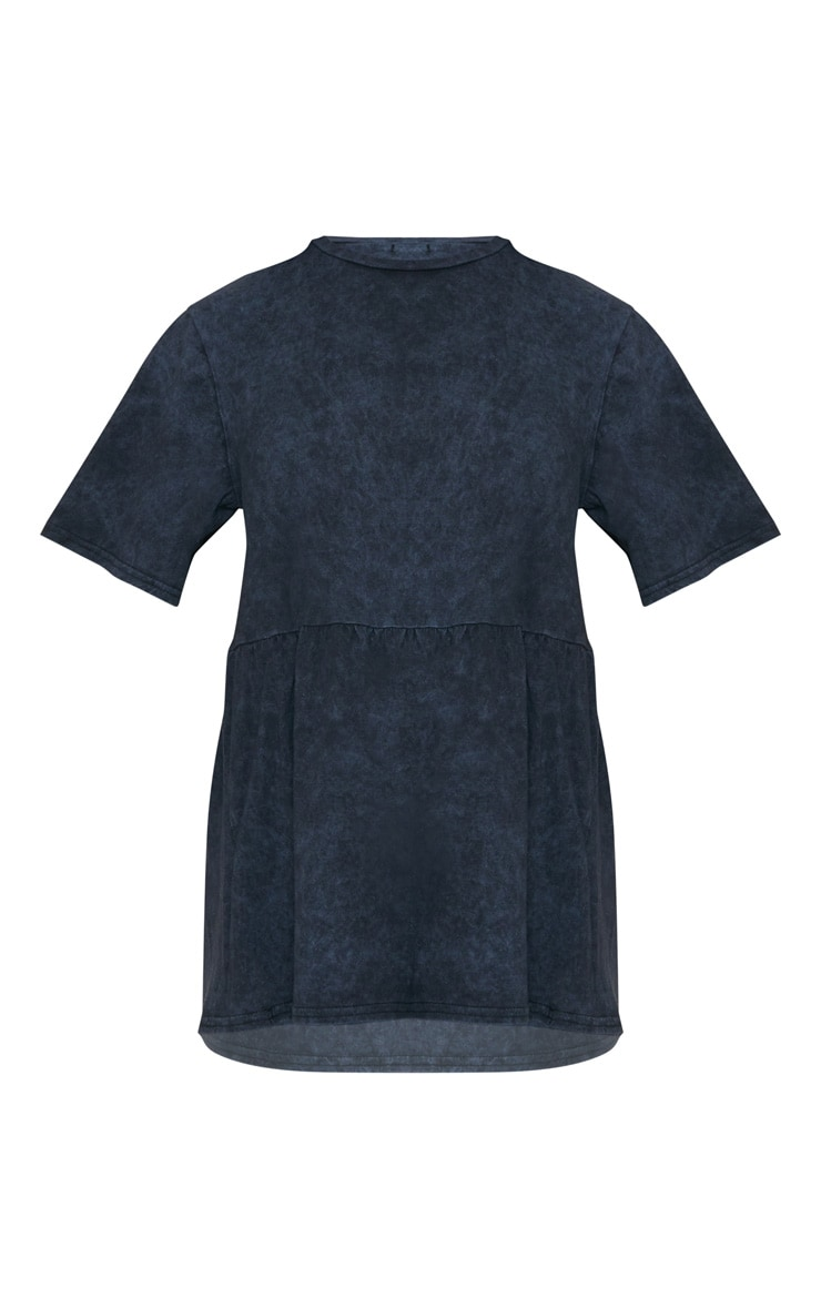 T-shirt oversized bleu marine délavé style péplum 2